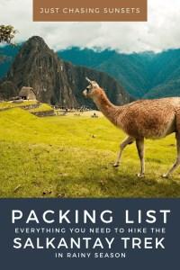Rainy Season Packing List Salkantay Trek
