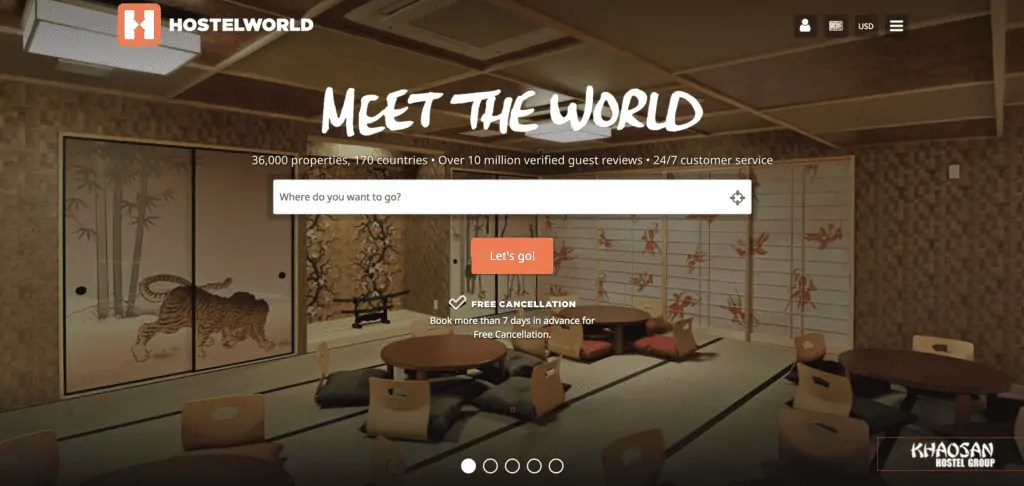 hostelworld homepage