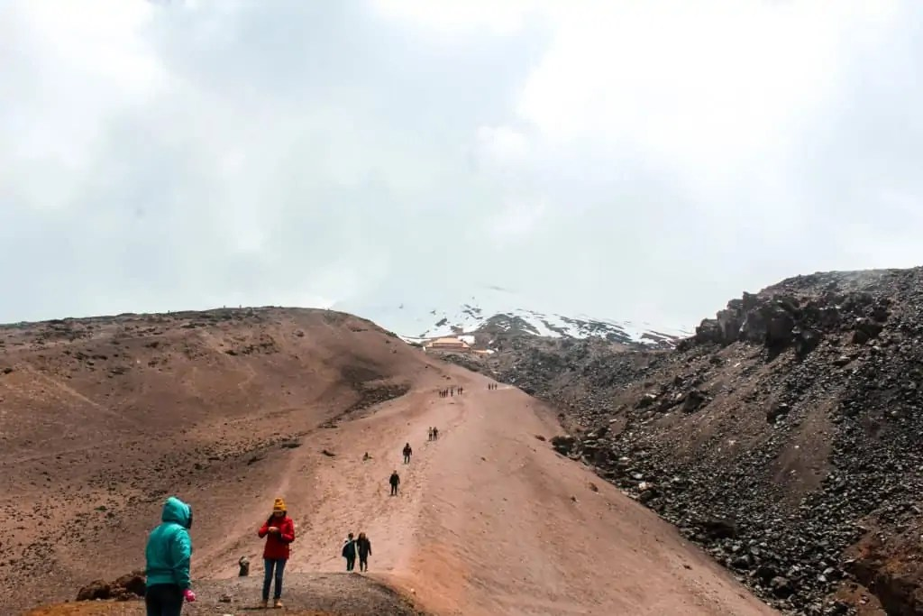The steep climb up to the Refuge on Cotopaxi