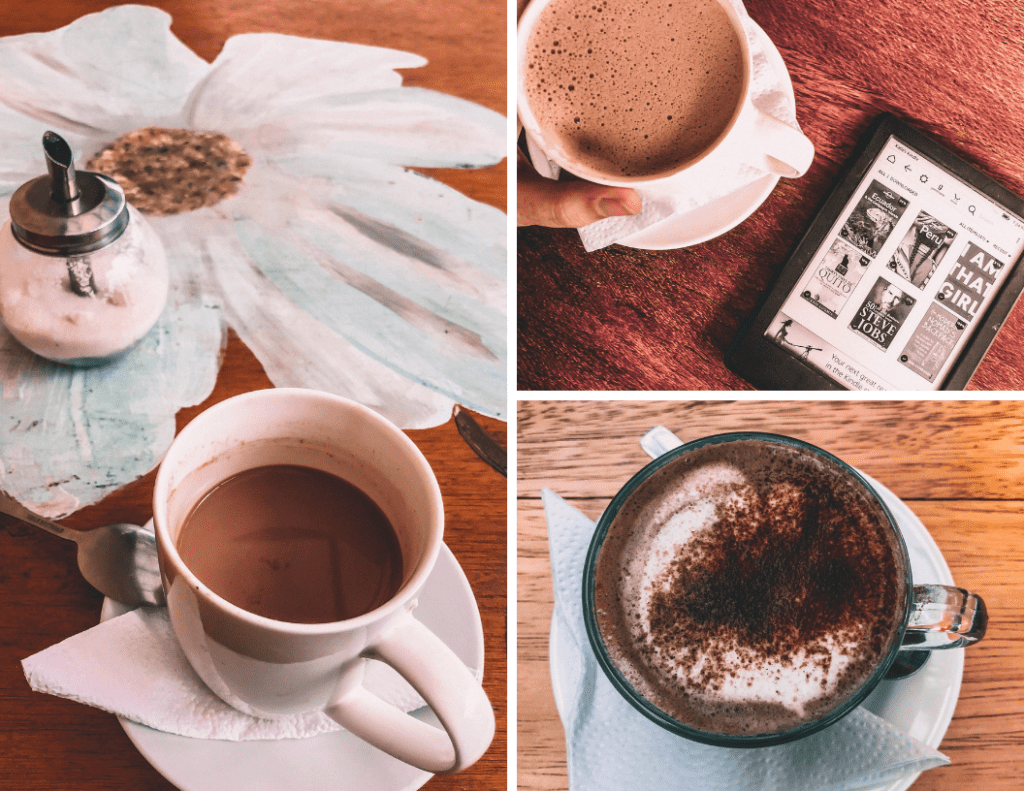 photos of three different cups of hot chocolate I drank in Quito