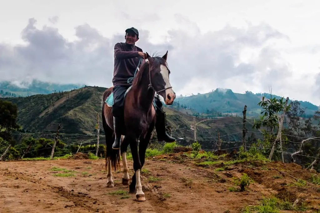 an ecuadorian man riding a horse