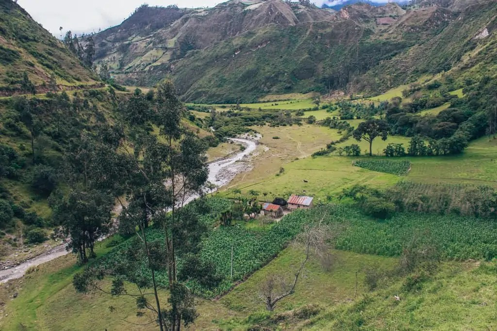 The river you're heading down towards and beautiful Andes countryside