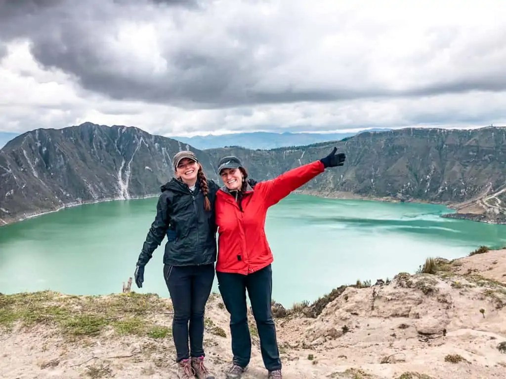 Katie and Kat at Quiolotoa crater lake