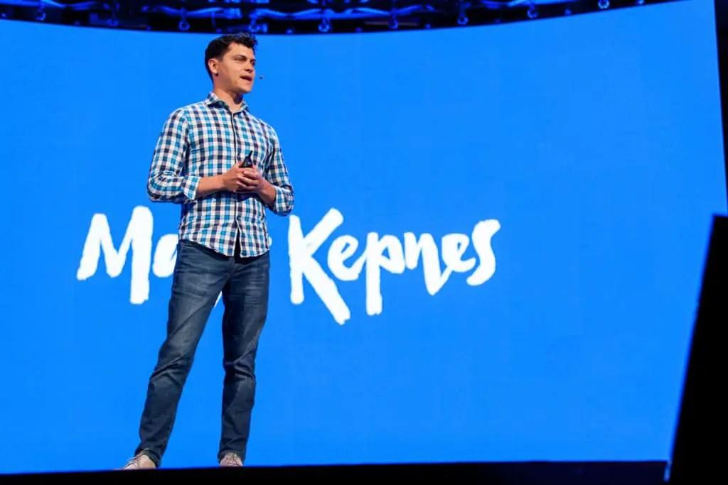 Matt Kepnes presenting on stage