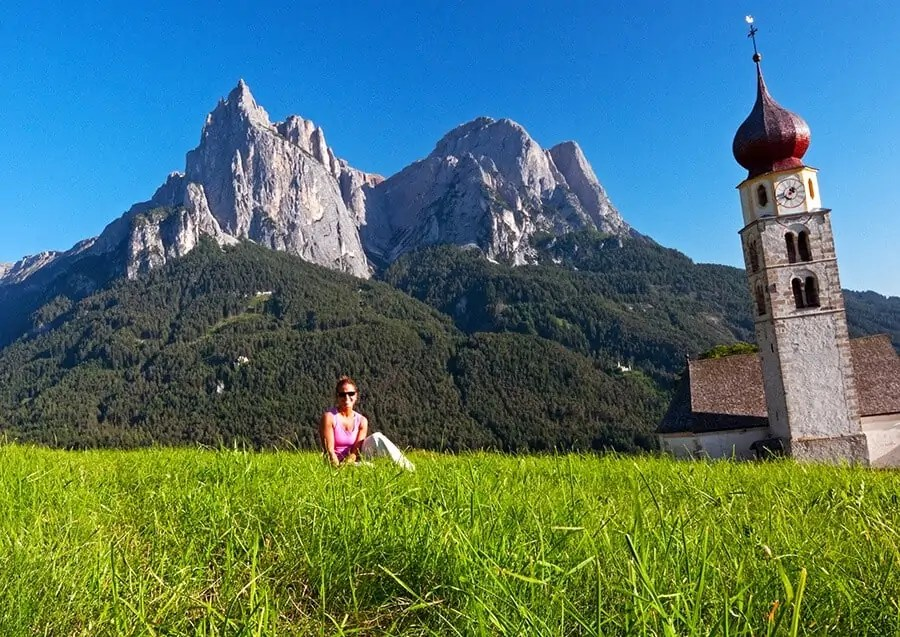 Lynne Enjoying the view of the Dolomites