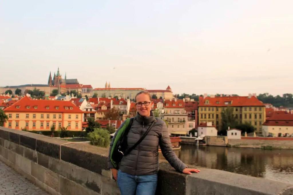 Rianne on the Charles Bridge in Prague