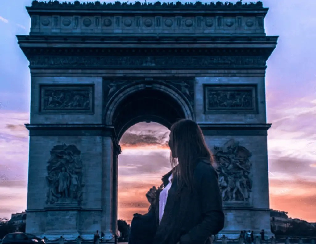 me in front of Arc de Triomph