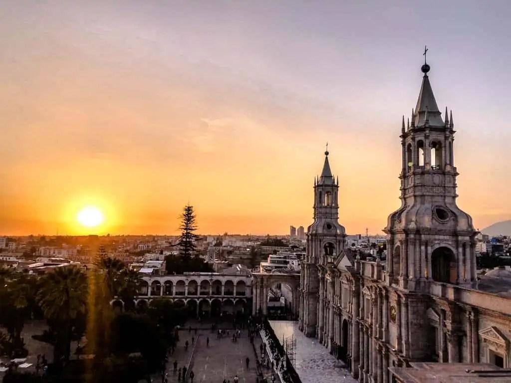 sunset over plaza de armas in Arequipa