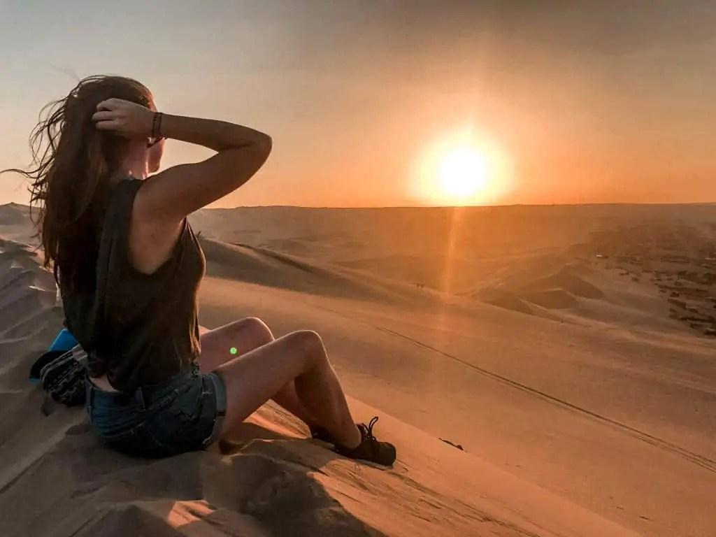 Desert sunset in Huacachina