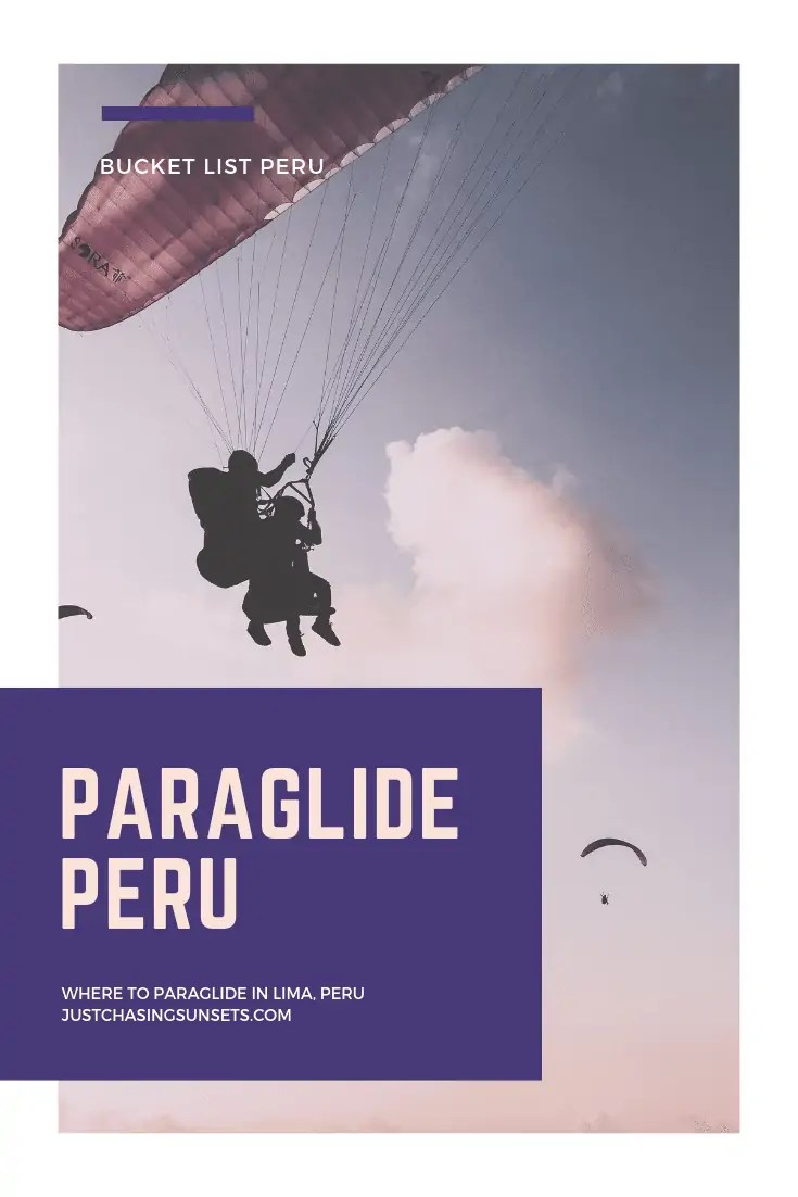 Paraglide in Lima, Peru at sunset