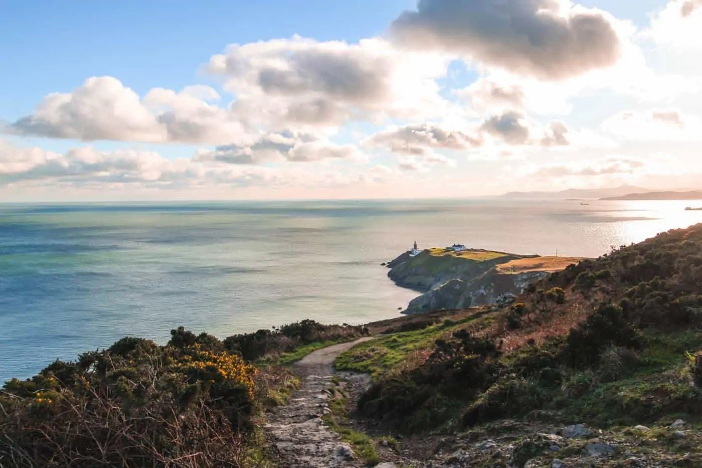 View of the lighthouse on the Howth Cliff Walk