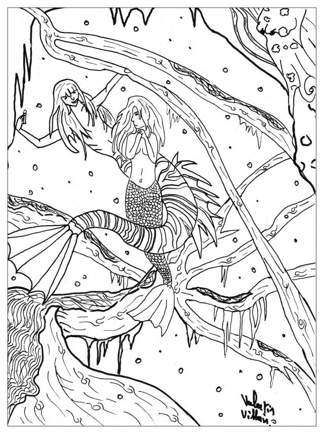 Petite sirene - Contes de fées - Coloriages difficiles pour adultes
