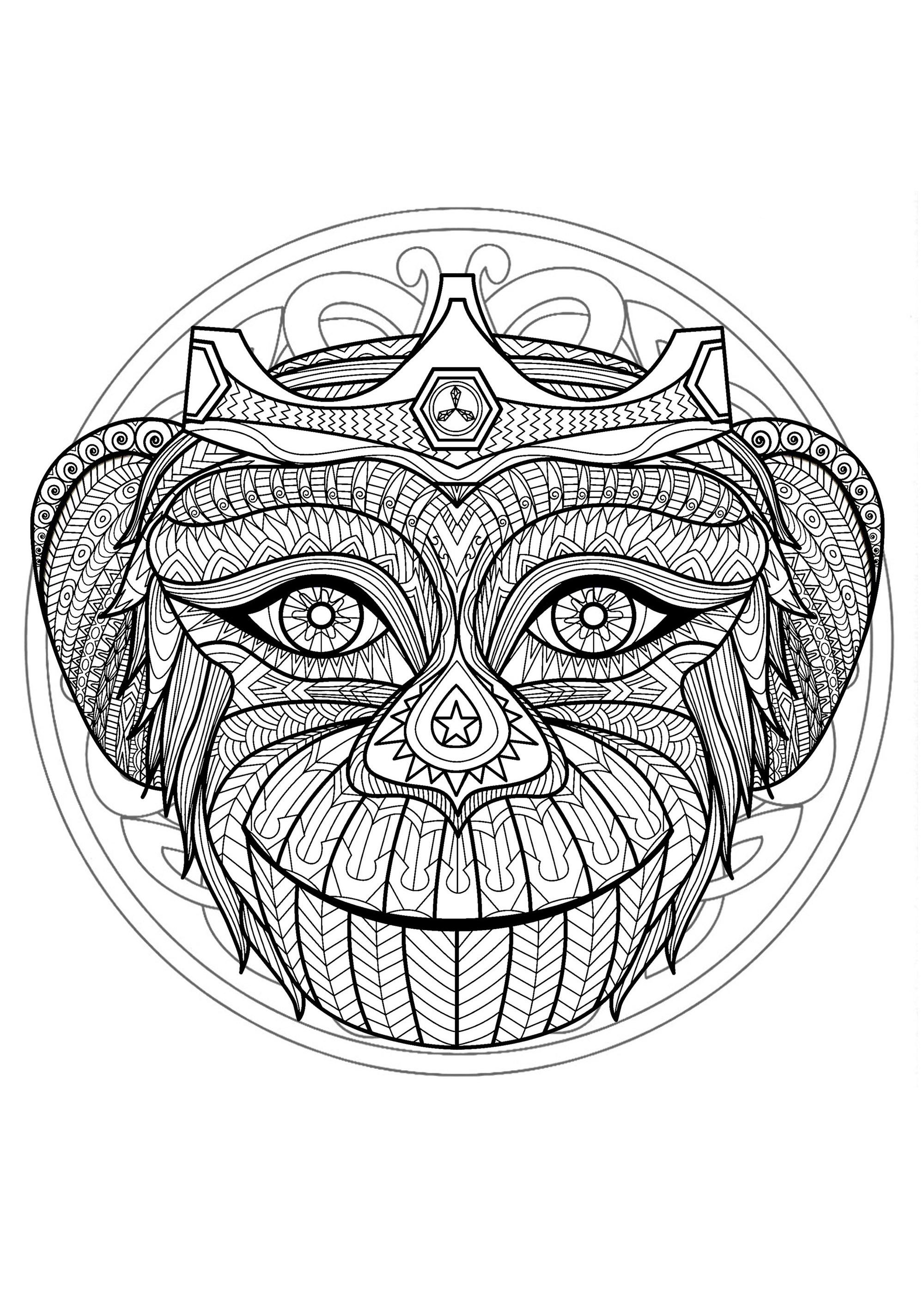 Mandala Tete Singe 1 Mandalas Coloriages Difficiles