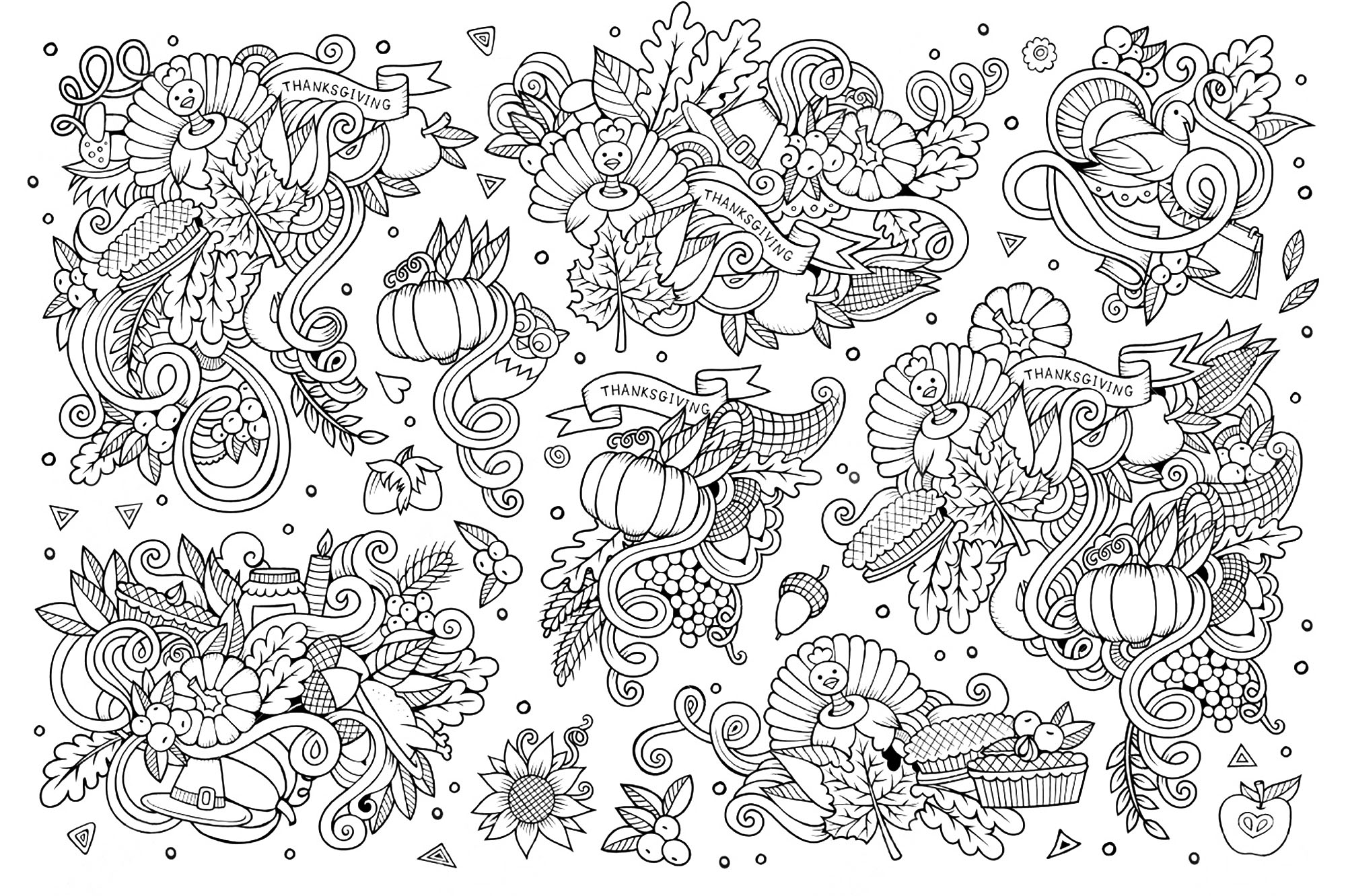 Thanksgiving Doodle 3 Thanksgiving Coloriages