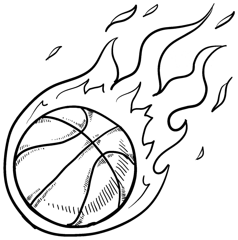 Basketball To Color For Kids