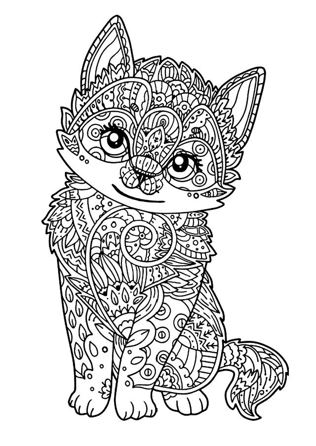 Cat for kids : Little kitten - Cats Kids Coloring Pages