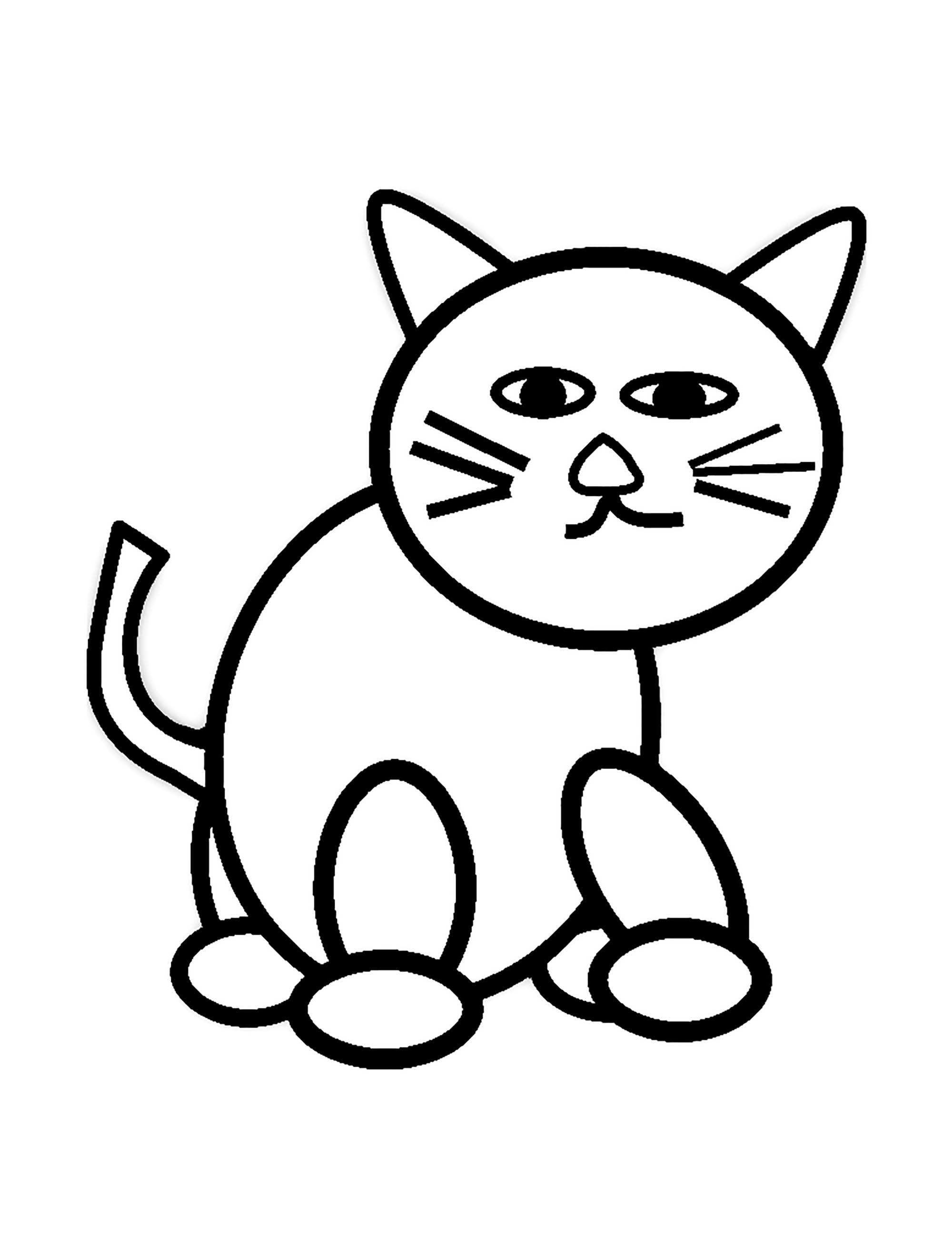 Cat For Kids Simple Drawing