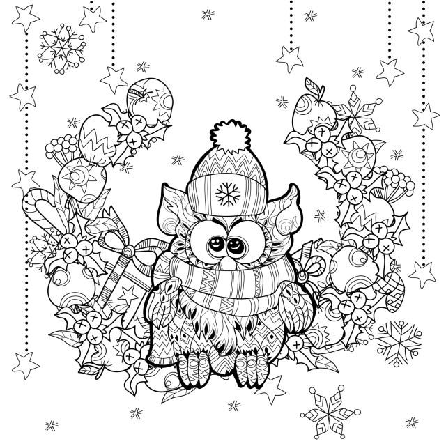 Christmas owl - Christmas Kids Coloring Pages