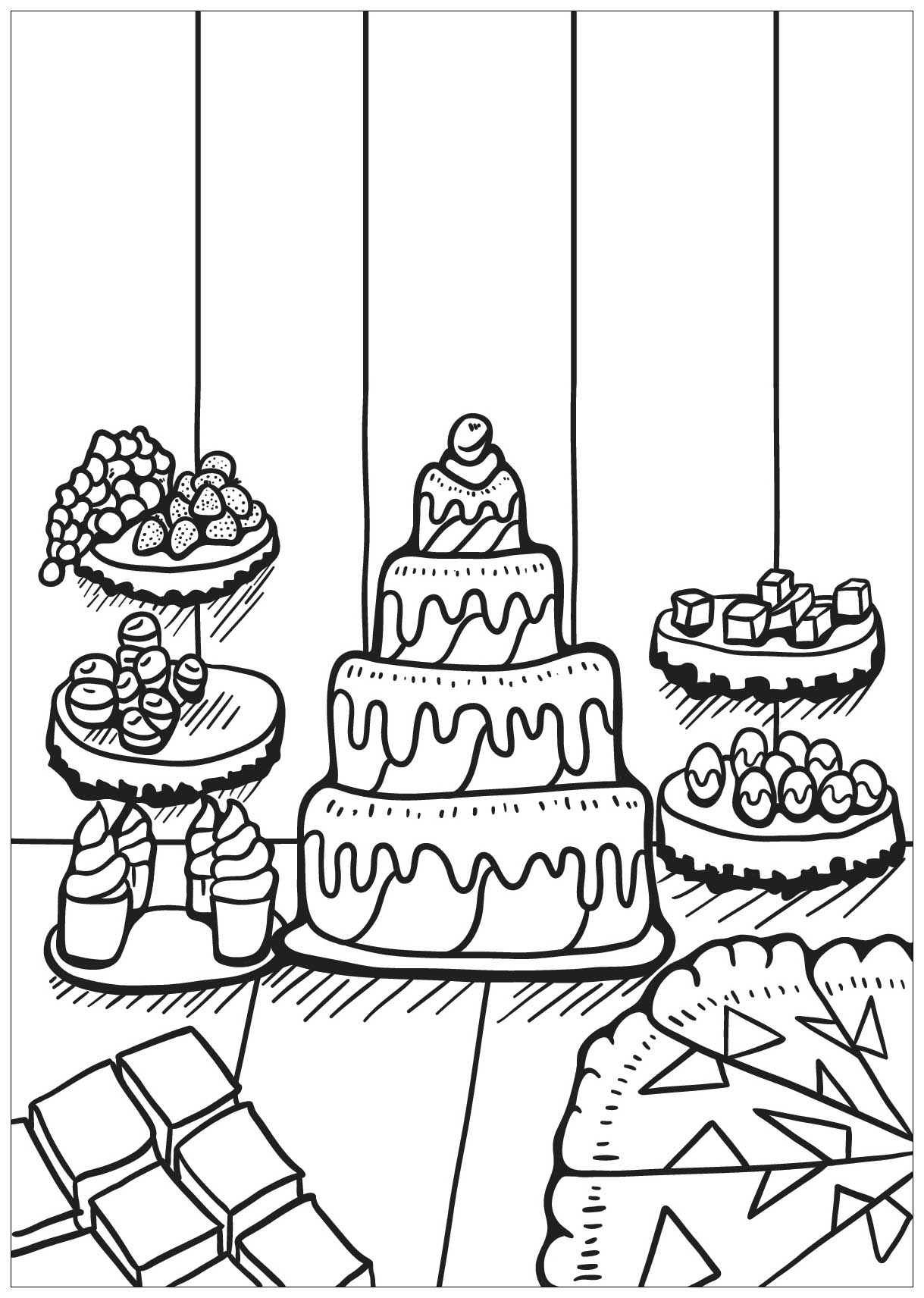 Cupcakes And Cakes To Color For Children