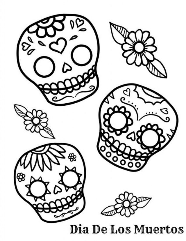 Dia De Los Muertos (Day Of The Dead) Kids Coloring Pages