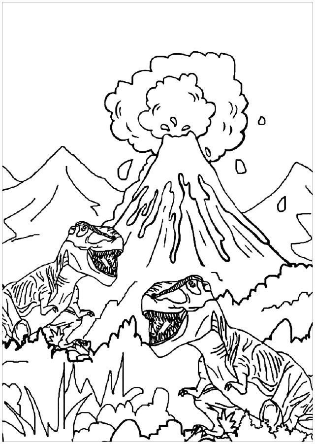 Dinosaurs to print for free : Dinosaurs and volcano - Dinosaurs