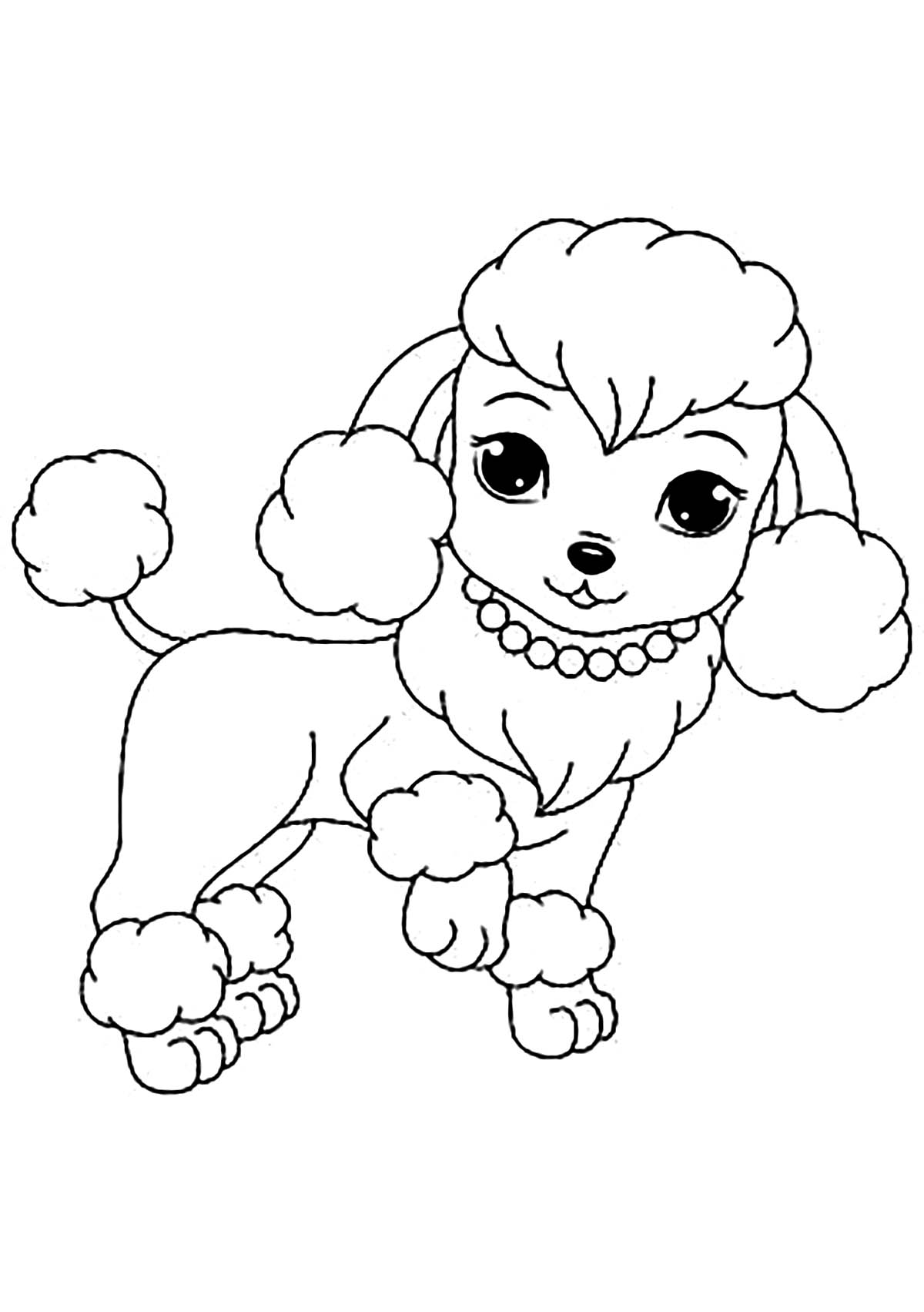 Dog Free To Color For Children Cute Female Dog