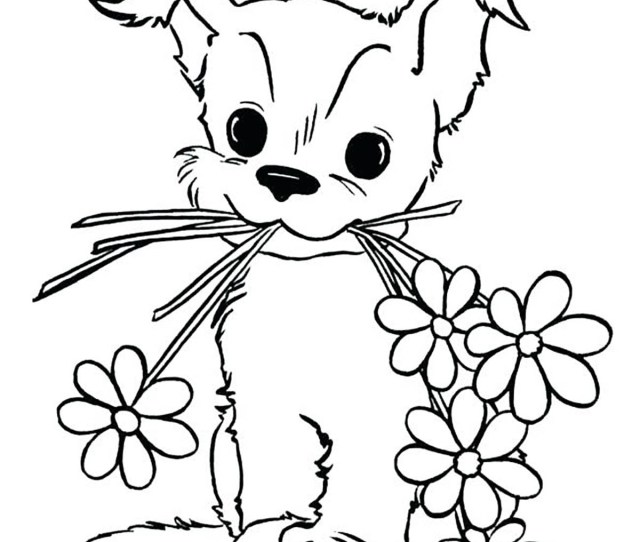 Dogs To Color For Kids Dog With Flowers Dogs Kids Coloring Pages
