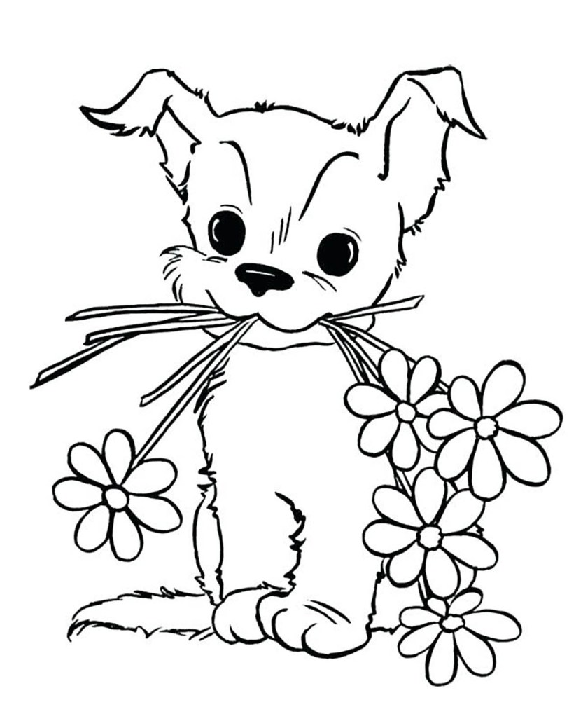 dogs to color for kids  dog  flowers  dogs kids