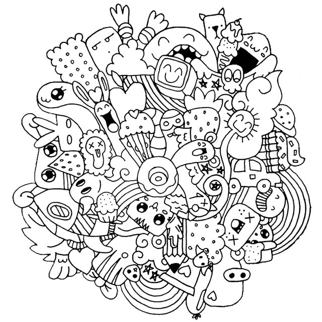 Doodle art to color for kids - Doodle Art Kids Coloring Pages