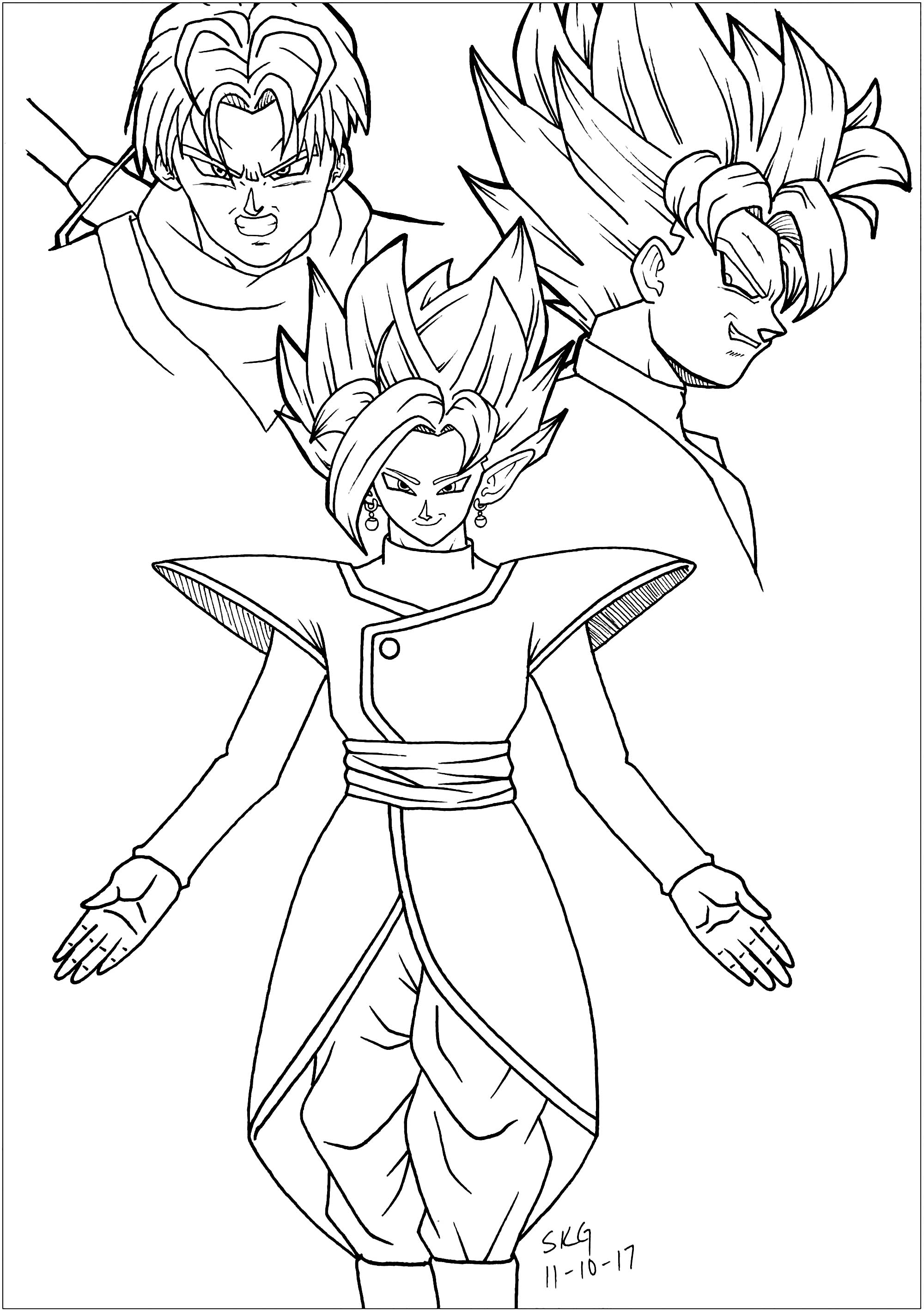Coloring Dragonball Super Zamasu Trunks And Black Goku on 2000 Mitsubishi Montero Sport 3 0 Belt Diagram
