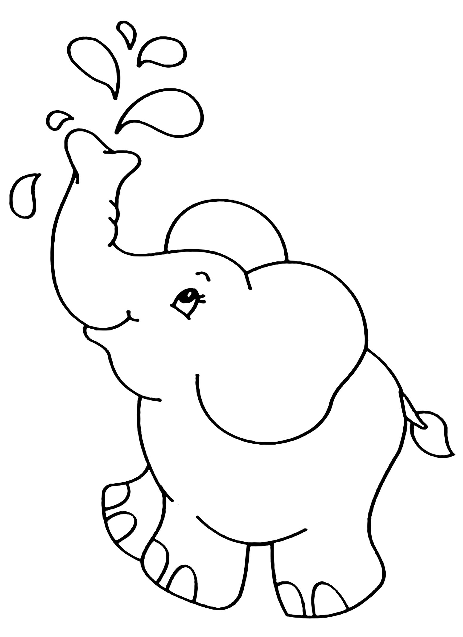 Elephants Free To Color For Kids
