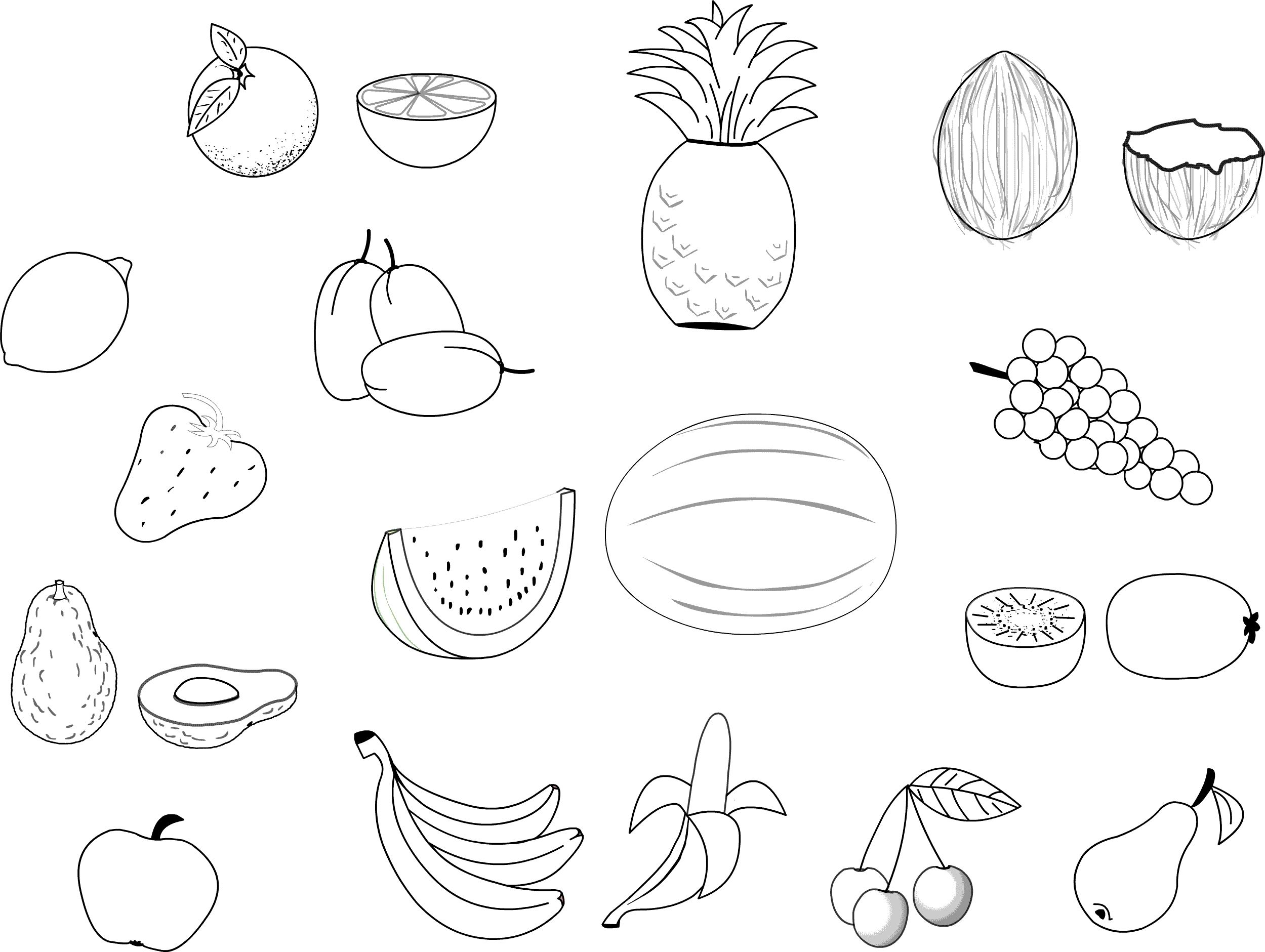 Fruits And Vegetables Free To Color For Kids