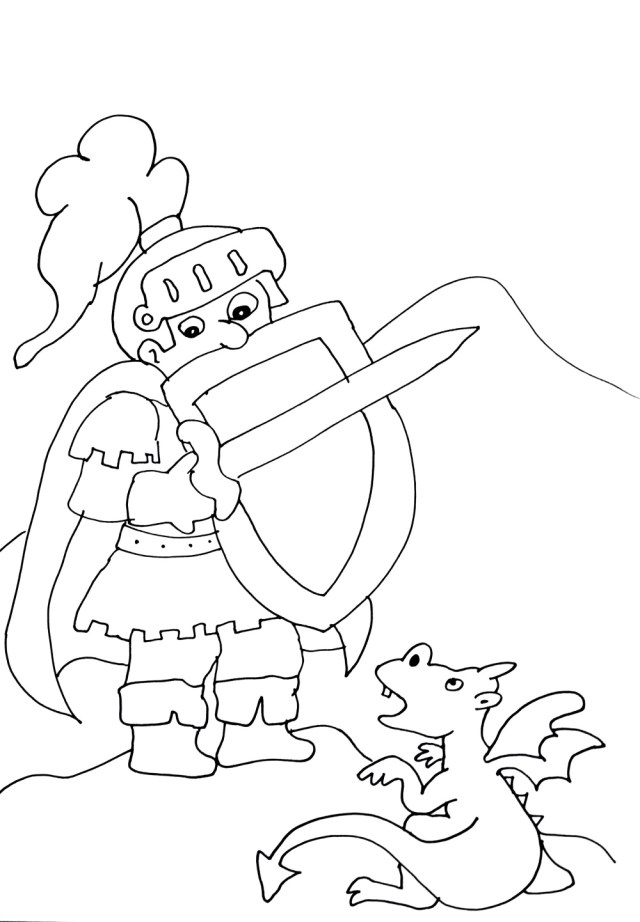 Knights and dragons free to color for kids - Knights And Dragons