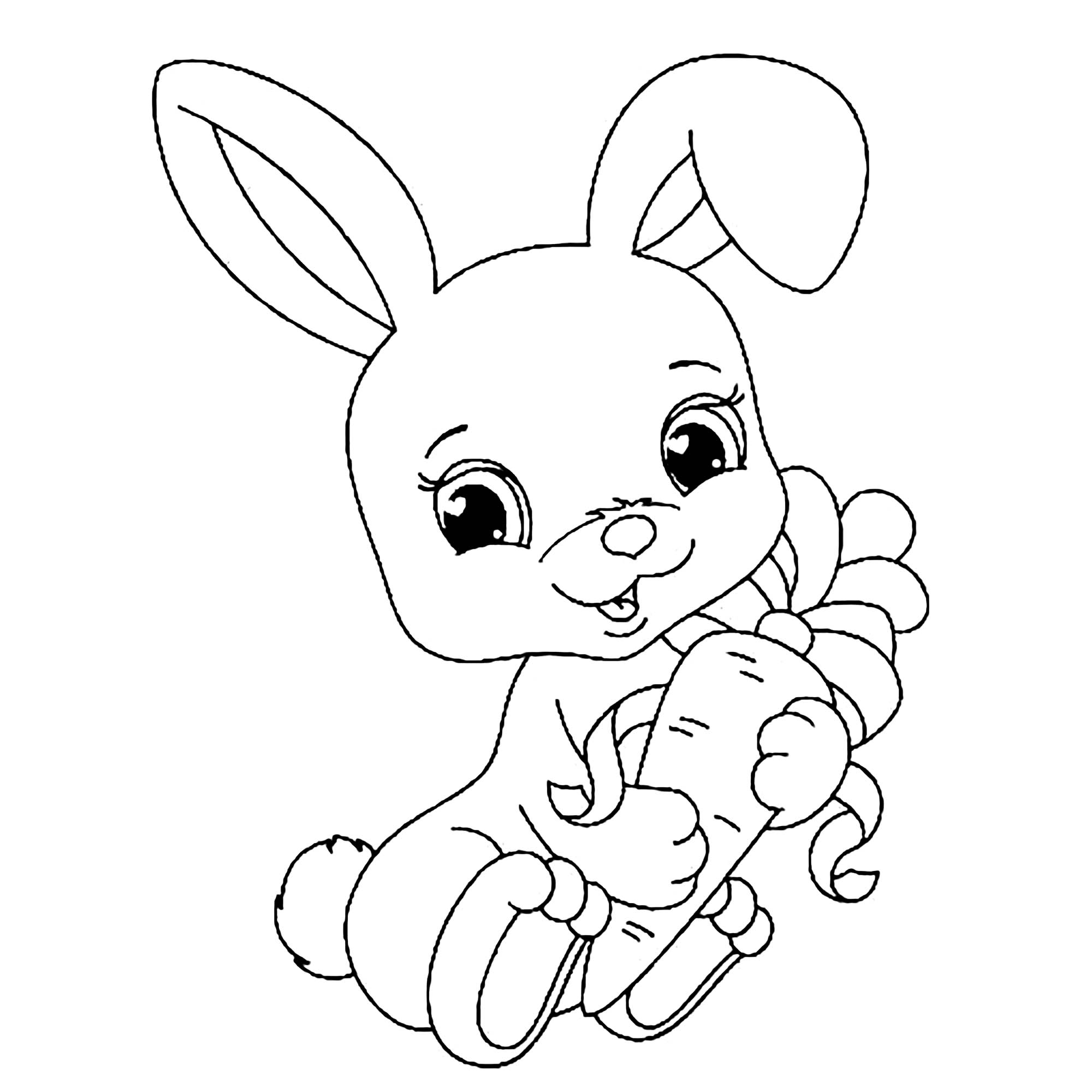 Rabbit Free To Color For Children
