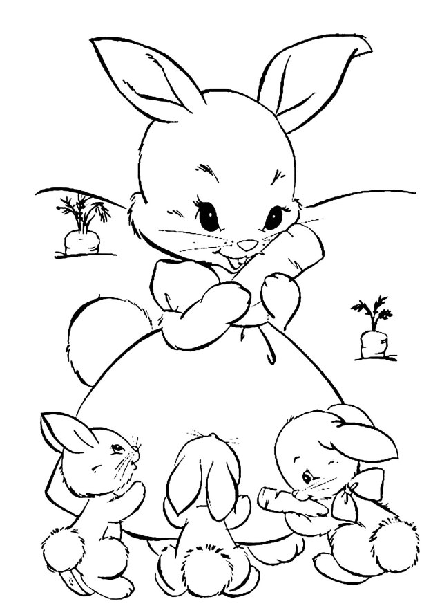 Rabbit free to color for kids - Rabbit Kids Coloring Pages