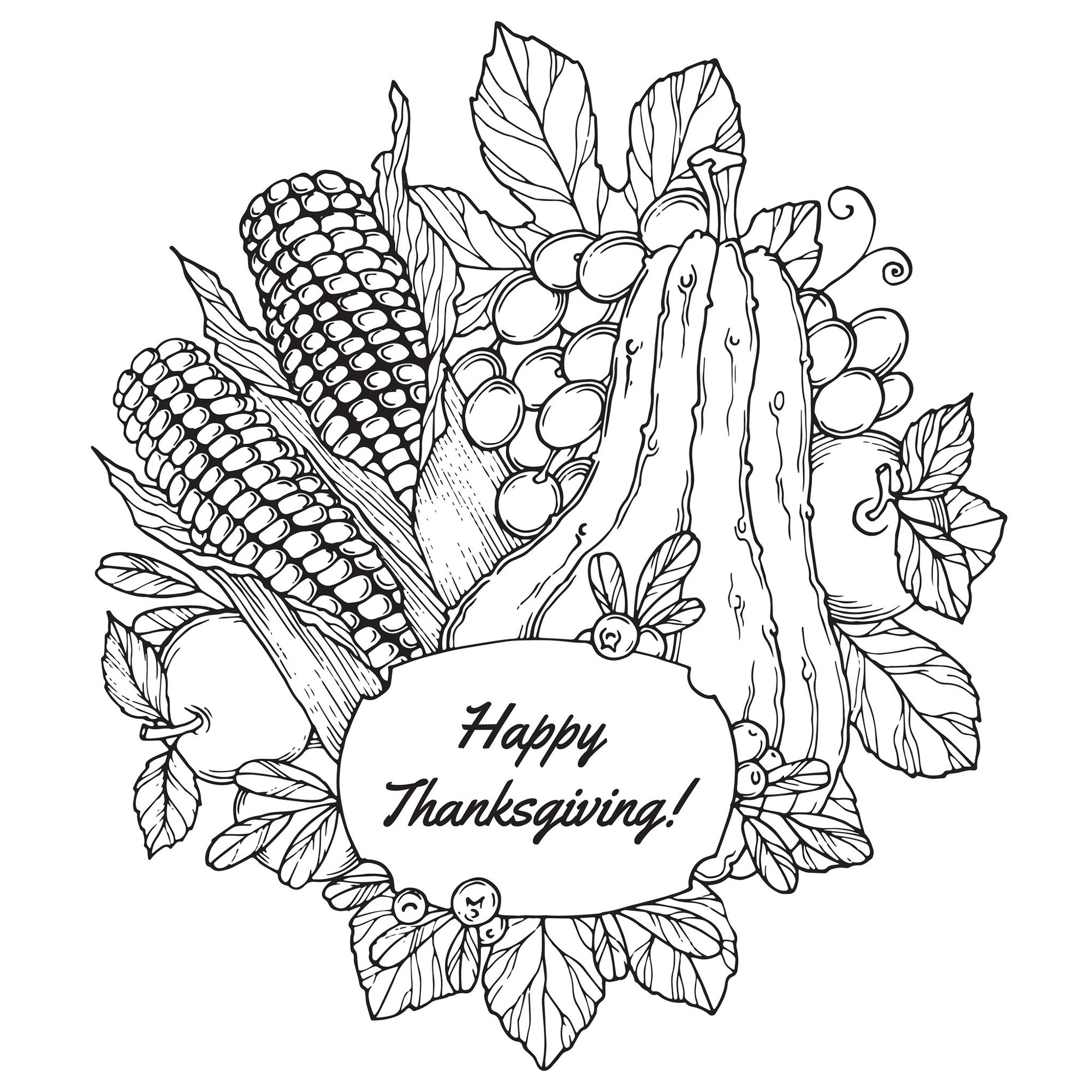 Thanksgiving To Color For Kids