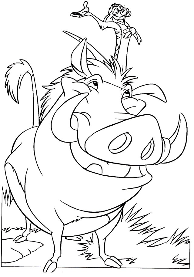 Timon and Pumbaa - The Lion King Kids Coloring Pages