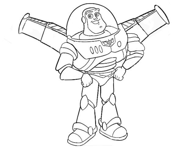Buzz Lightyear with his wings - Toy Story Kids Coloring Pages
