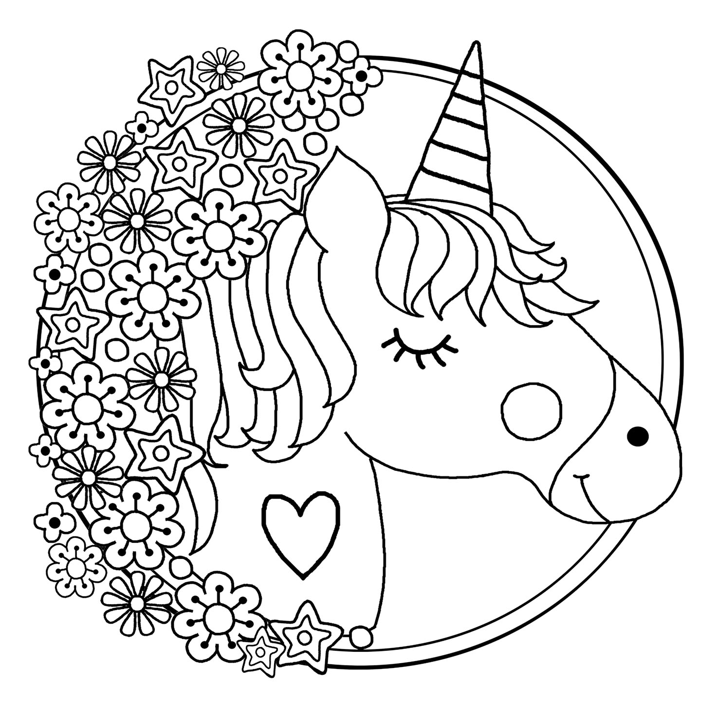 Unicorns Free To Color For Kids