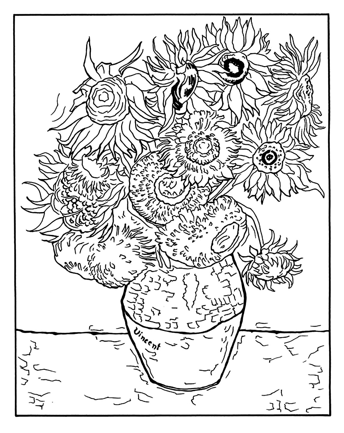 Vincent Van Gogh Free To Color For Children