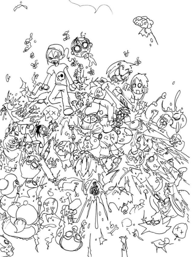 Zombies to color for kids - Zombies Kids Coloring Pages