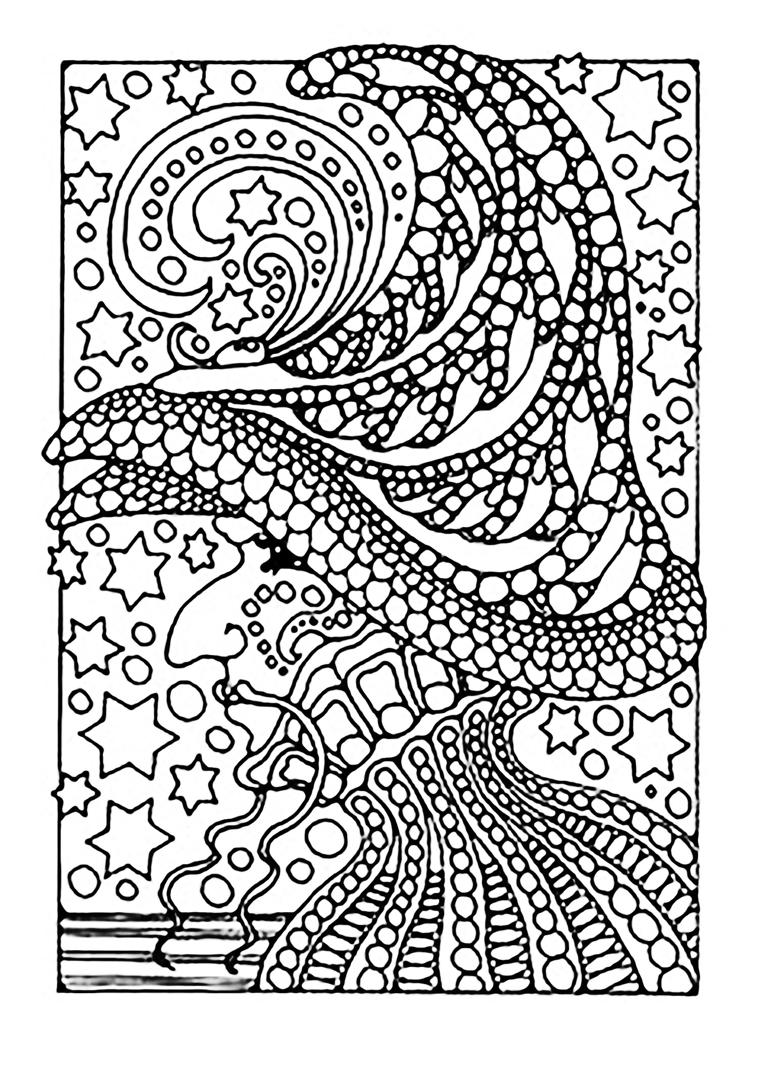 Halloween Witch And Stars Halloween Adult Coloring Pages