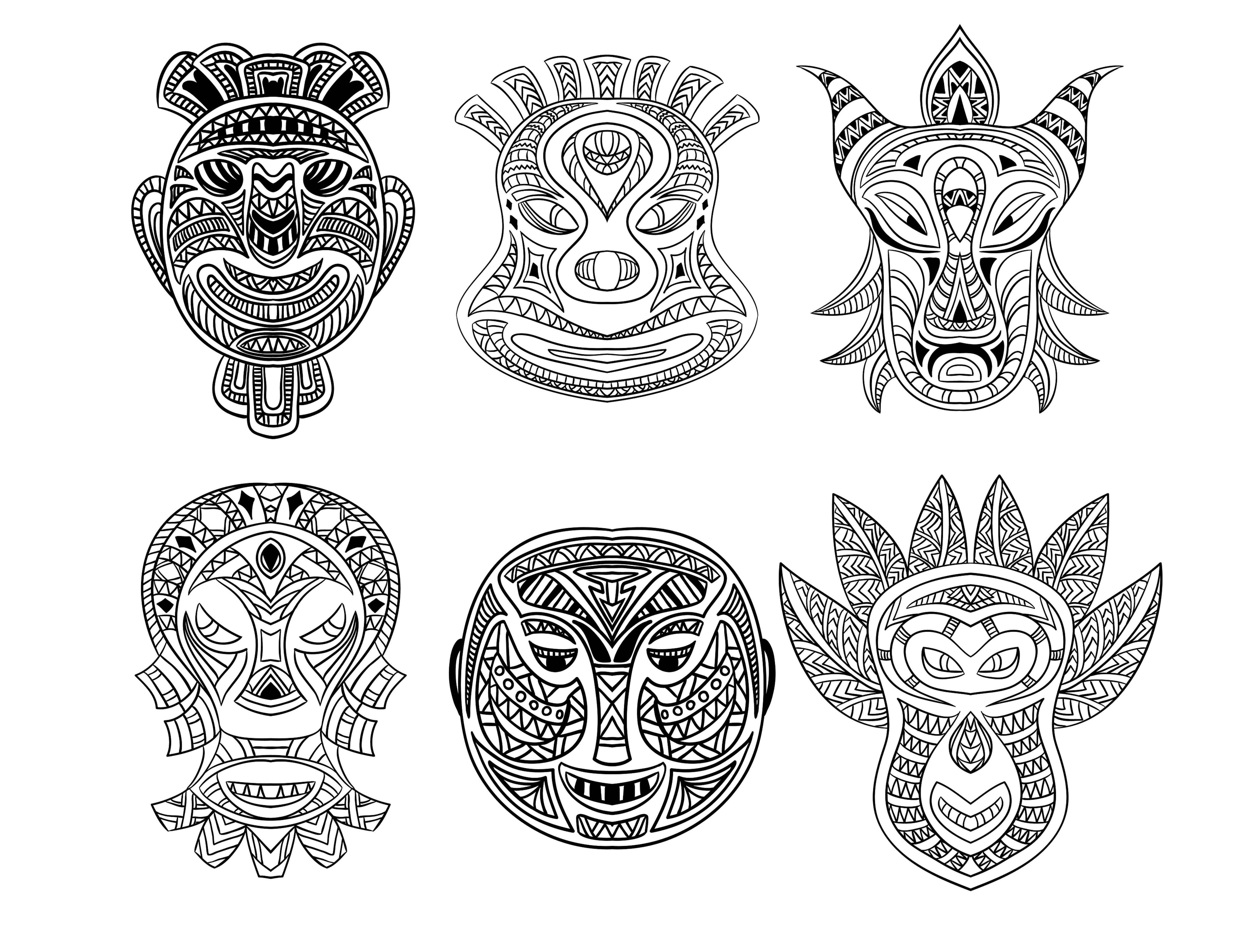 6 African Masks