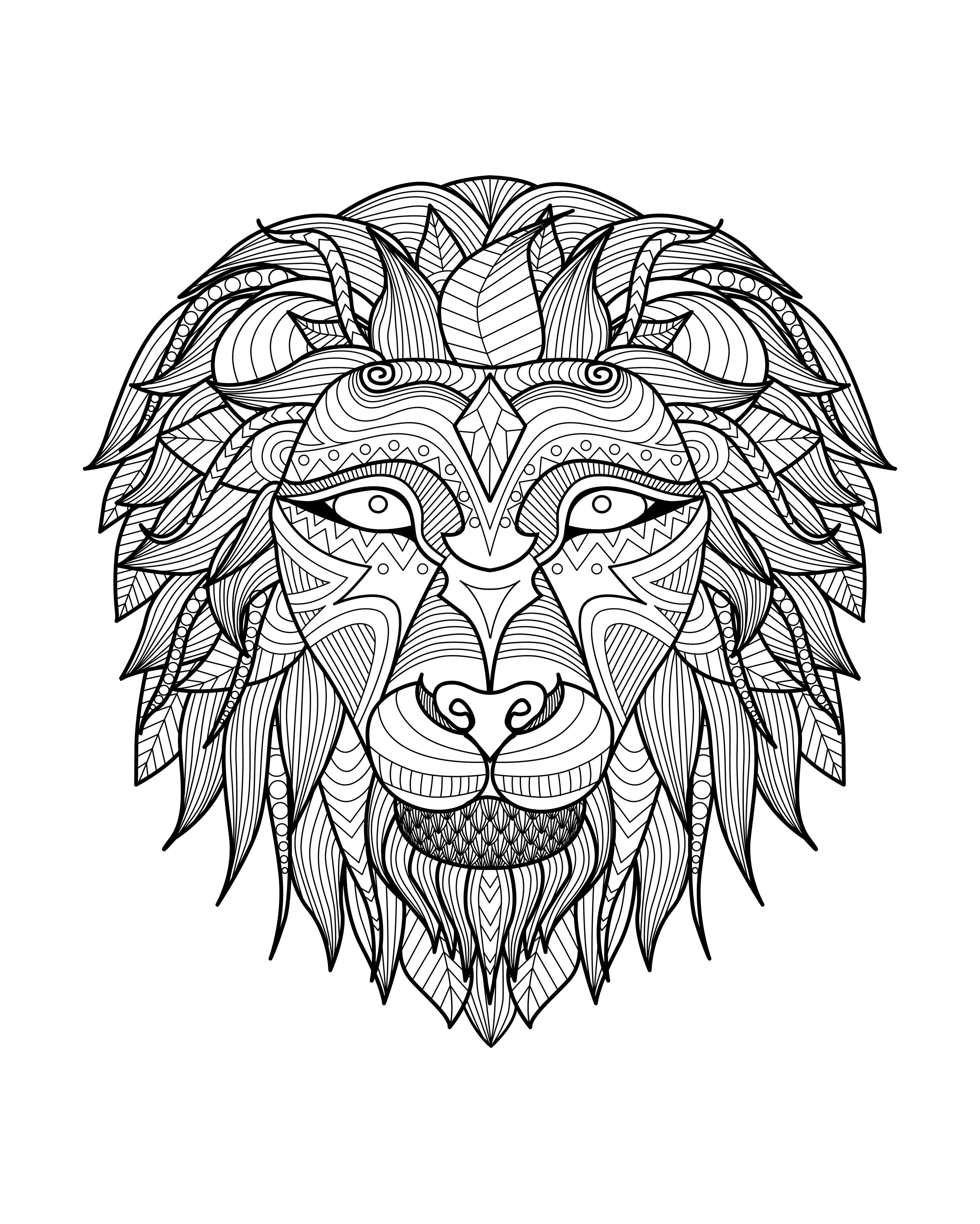 Africa Lion Head 2 Africa Coloring Pages For Adults Justcolor