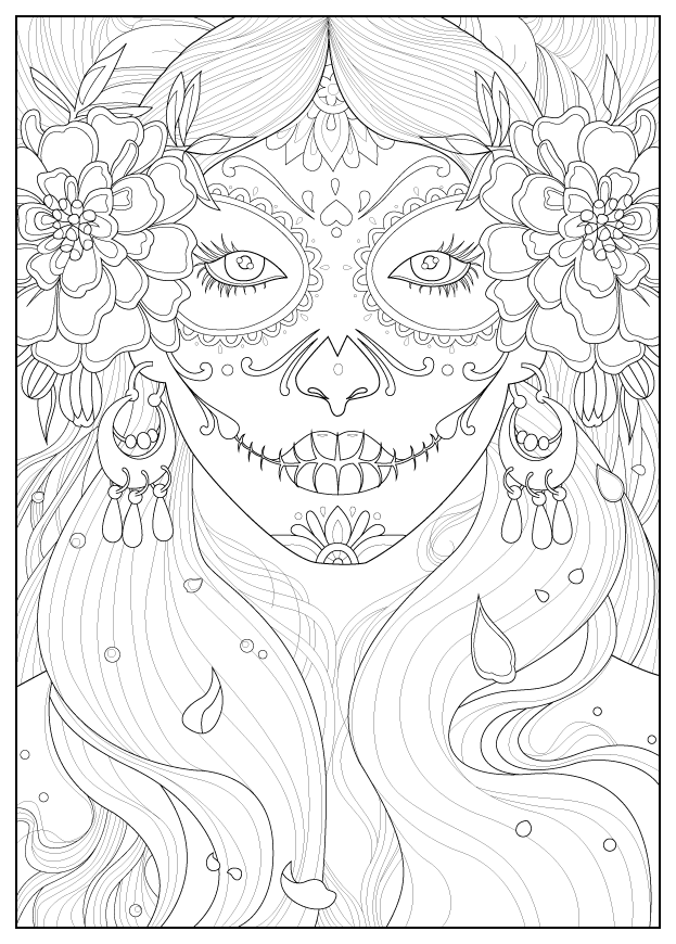Days Of The Dead Anti Stress Adult Coloring Pages