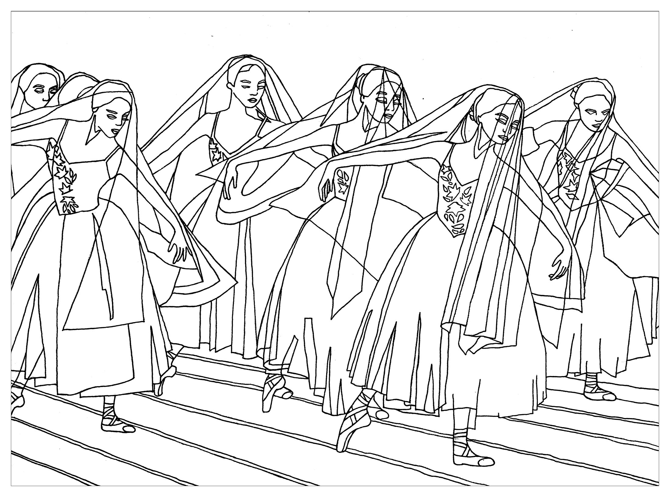 Giselle Ballet Anti Stress Adult Coloring Pages