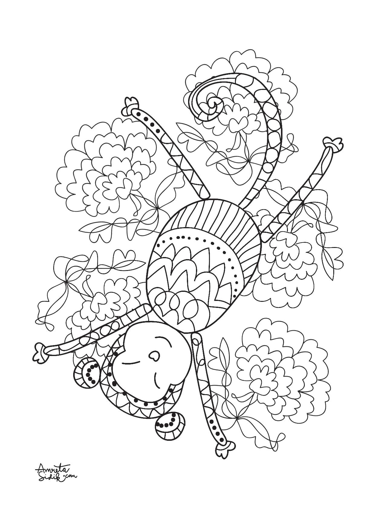 Year Of The Monkey 5 Zen And Anti Stress Coloring Pages For
