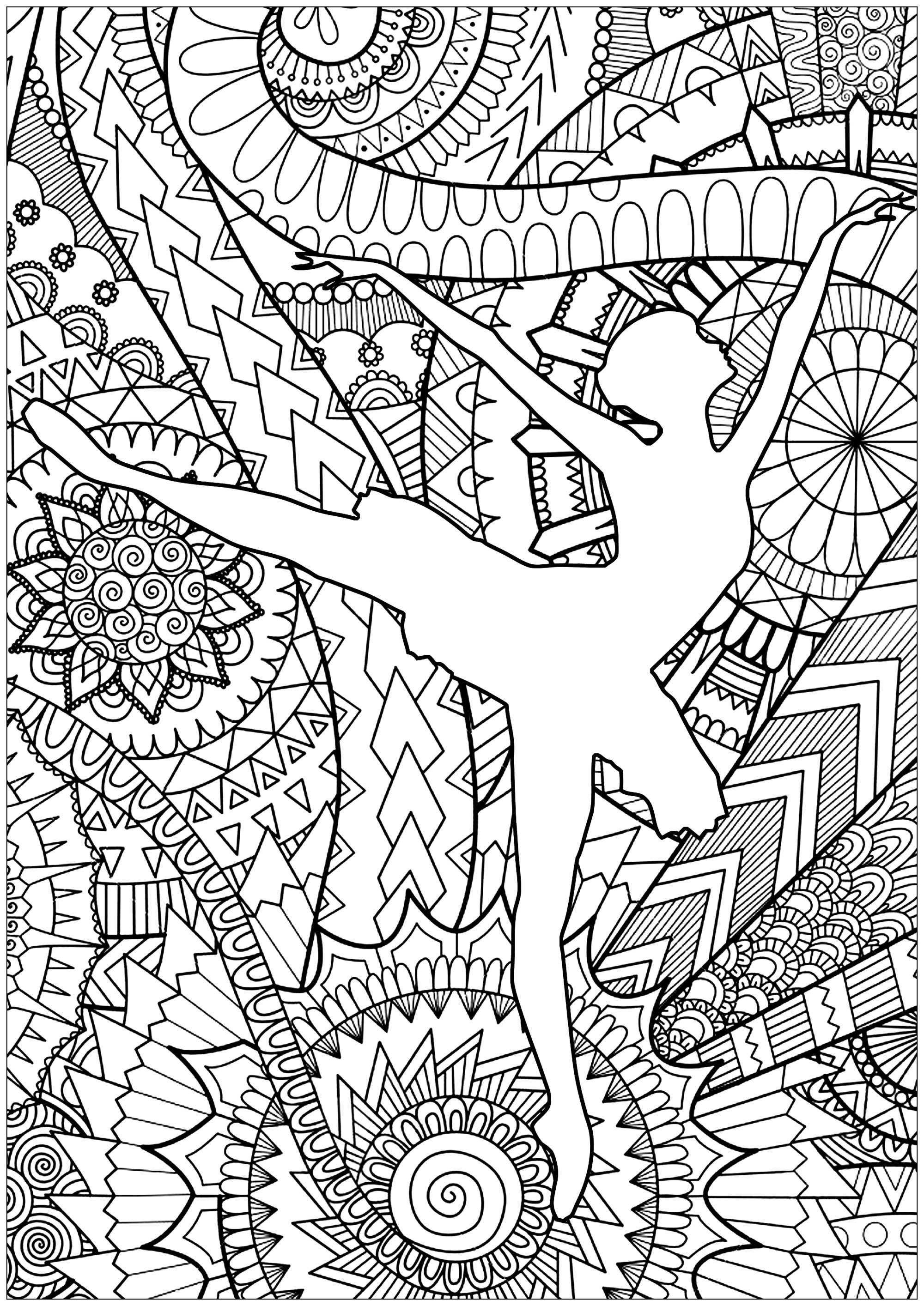 Ballet Dancer Anti Stress Adult Coloring Pages
