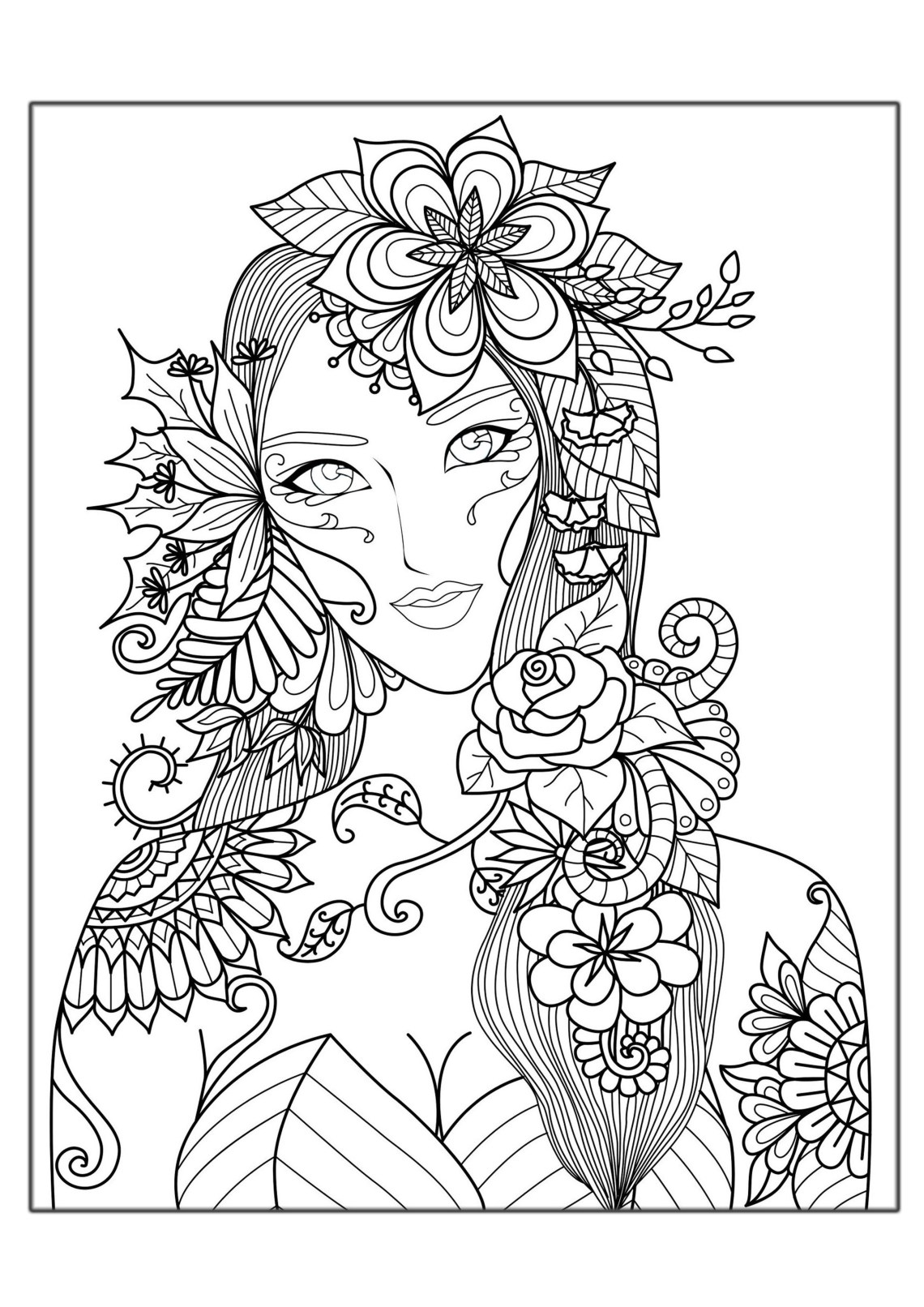 Woman flowers - Anti stress Adult Coloring Pages | coloring pictures for adults flowers