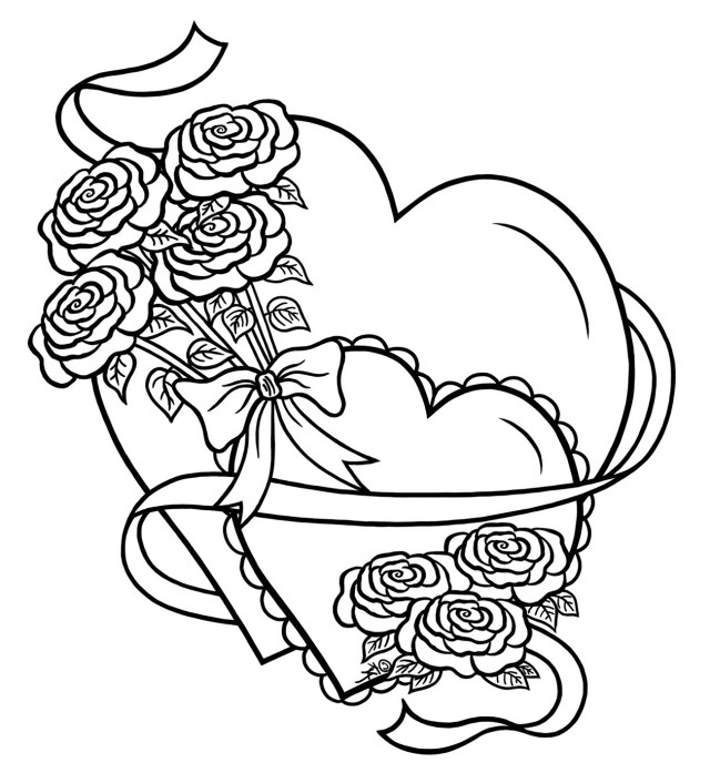 Love simple heart with flowers - Anti stress Adult Coloring Pages